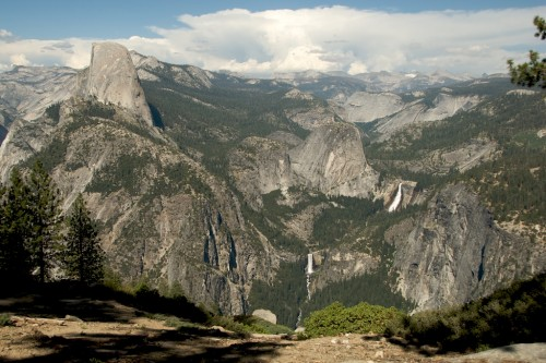 half dome and falls from glacier point