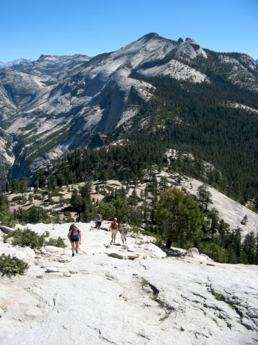 half dome trail back down
